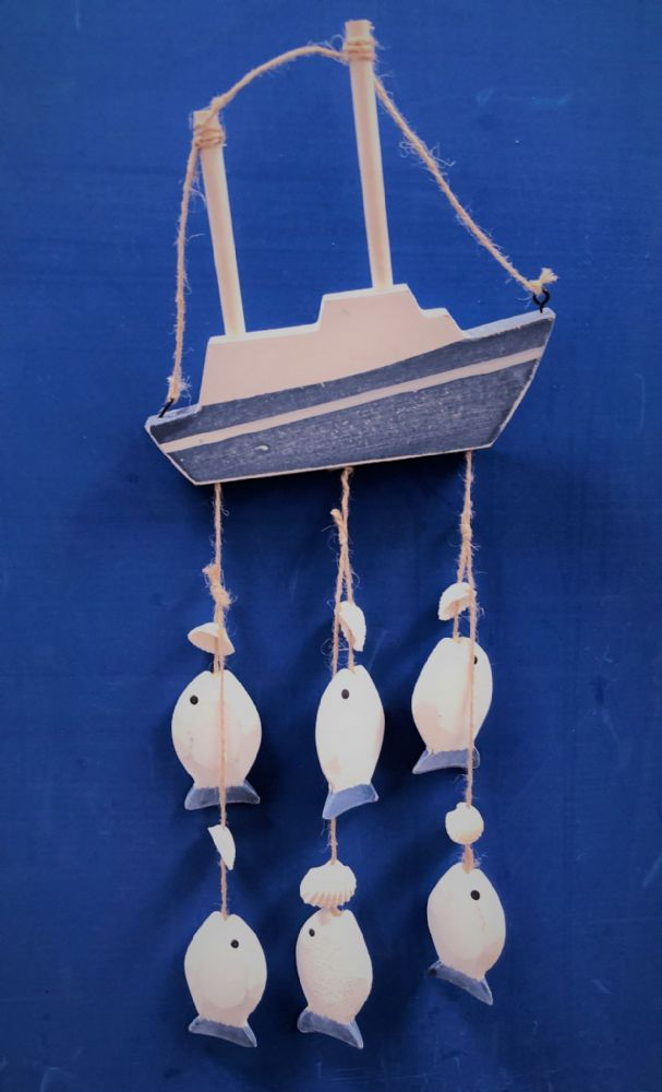 Hanging Wooden Boat & Fish Mobile Nautical Wall Decor